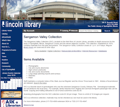 FGS 2016 Repository Spotlight: Sangamon Valley Collection at the Lincoln Library via FGS Voice and FGSConference.org