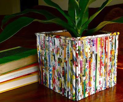 pot bunga kerajinan tangan dari kertas bekas