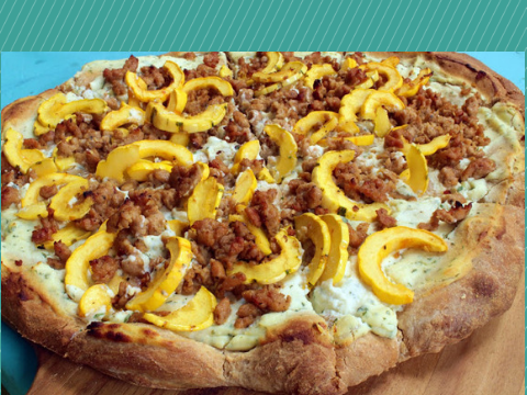 Sauce not necessary (Delicata Squash and Sausage Pizza with Ricotta and Honey)