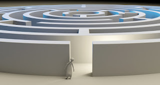 A computer-rendered image of a figure trepidatiously entering a maze.