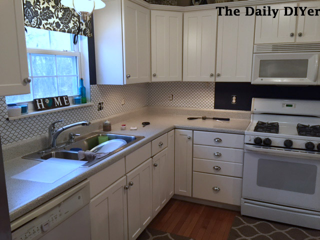 the daily diyer updated contact paper kitchen backsplash