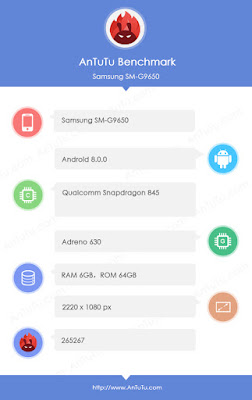Samsung SM-G9650 with Snapdragon 845 , 6GB RAM leaked on AnTuTu