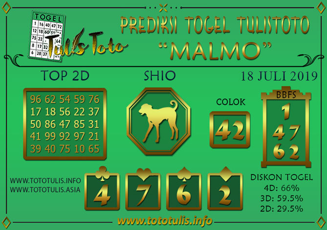 Prediksi Togel MALMO TULISTOTO 18 JULI 2019