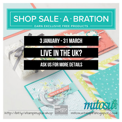 Order current Stampin' Up! products from Mitosu Crafts UK Online Shop to earn FREE Sale-A-Bration items