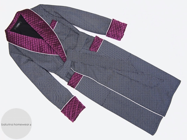 Men's quilted silk dressing gown