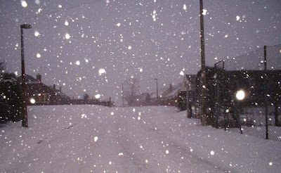 Heavy snow falling on King's Avenue, Brigg  - picture on Nigel Fisher's Brigg Blog