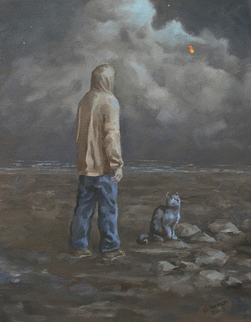 oil painting person watching a lantern float away over the ocean in moonlight with a cat by adam stolterman