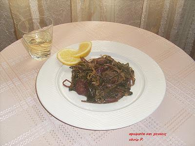 Πικάντικο μεζεδάκι με χόρτα και λουκάνικο