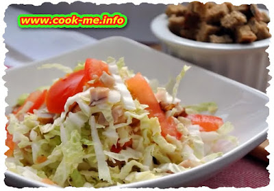Cabbage salad with tomatoes and mayonnaise