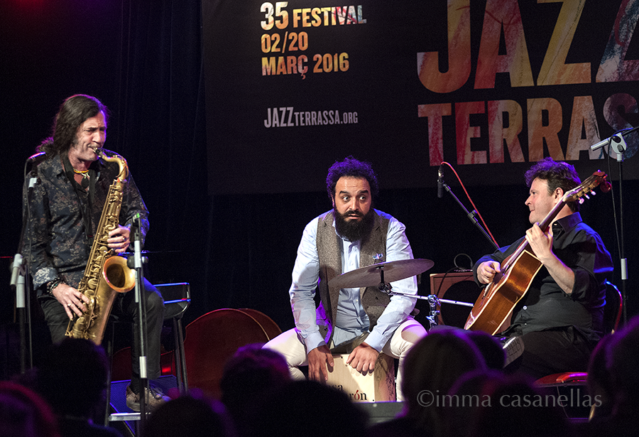 "Jorge Pardo, Israel Suárez ""Piraña"" i Sylvain Luc, Nova Jazz Cava, Terrassa, 5/3/2016"