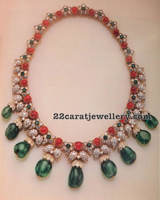 Diamond Ruby Choker Emerald Drops