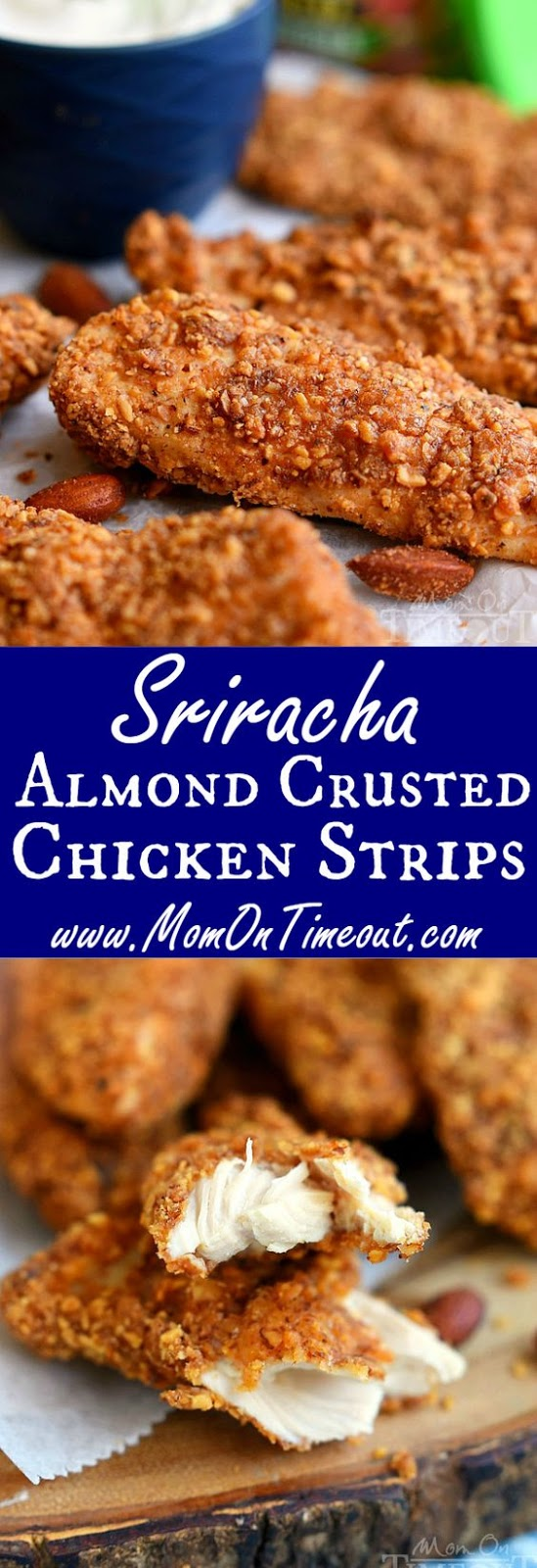 SRIRACHA ALMOND CRUSTED CHICKEN STRIPS #sriracha #almond #chicken #chickenrecipes #chickenstrip #dinnerideas #dinnerrecipes #easydinnerrecipes