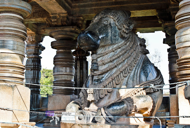 The more beautiful and ornate of the two Nandi statues at the Nandi Mantapa 1
