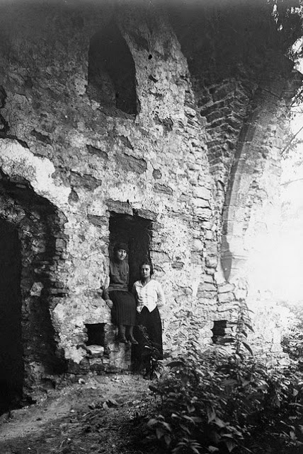 Two women in the ruins of Padise medieval monastery in Estonia, photographer unknown, c. 1920