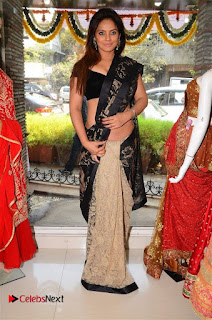 Actress Neetu Chandra Stills in Black Saree at Designer Sandhya Singh's Store Launch  0067.jpg