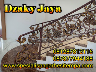 Model Railing Tangga Tempa 3d Purwakarta, Tangga Besi Tempa, Railing Tangga Klasik Modern