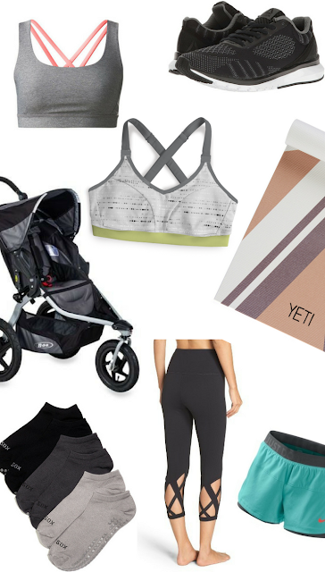 Workouts Busy Mom; New Mom Workouts; Workout; Bob Stroller; Yoga Mat; Ollie Gray Bra; Zella Capri; Lululemon bra; Reebok Tennis Shoes; Nike 2 in 1 Shorts