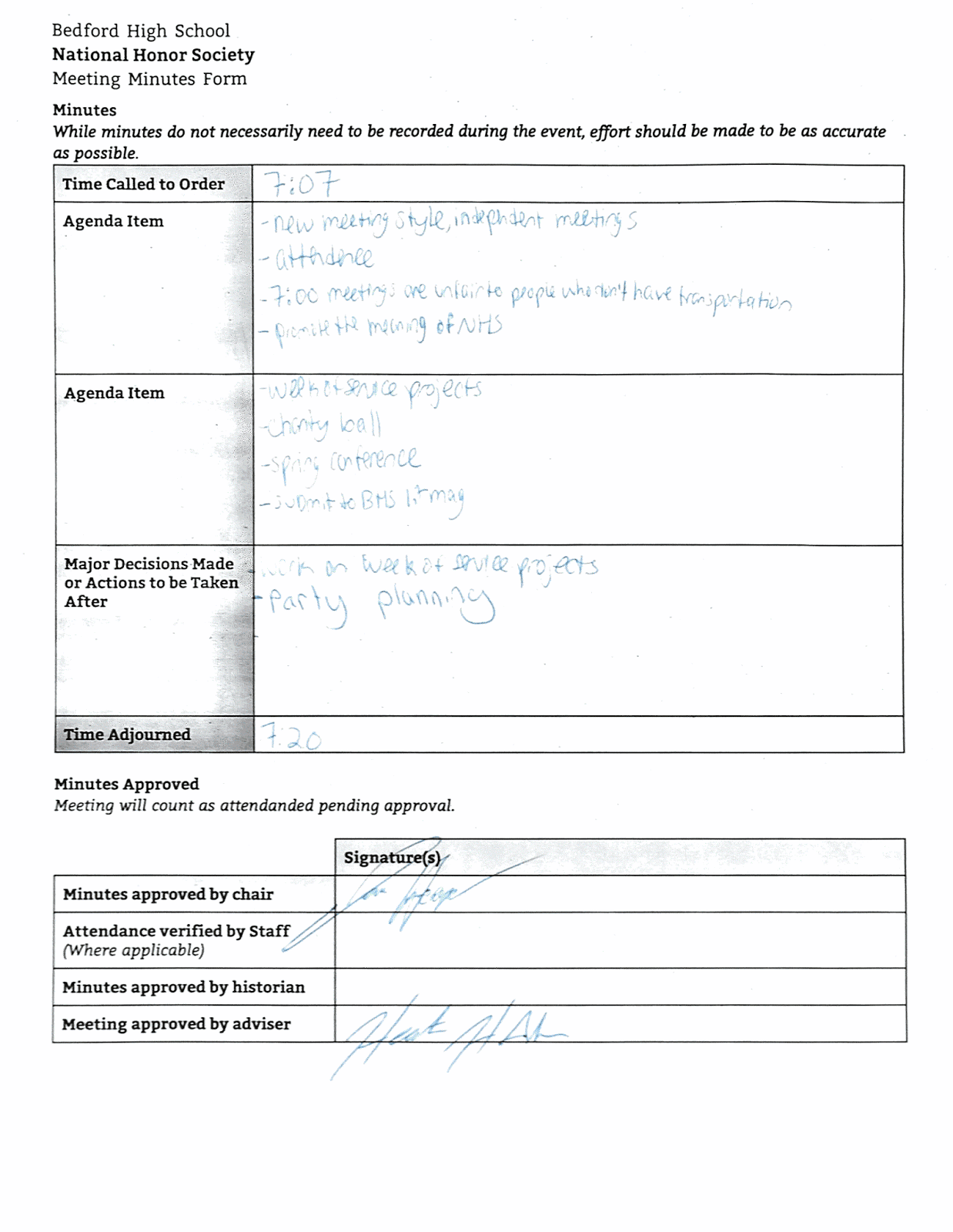 meeting minutes form