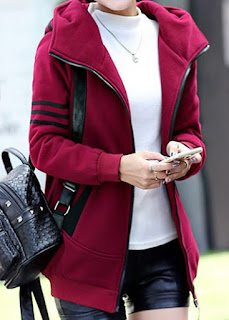 Zipper Up Long Sleeve Striped Burgundy Coat