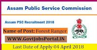 Assam Public Service Commission Recruitment 2018 – 50 Forest Ranger