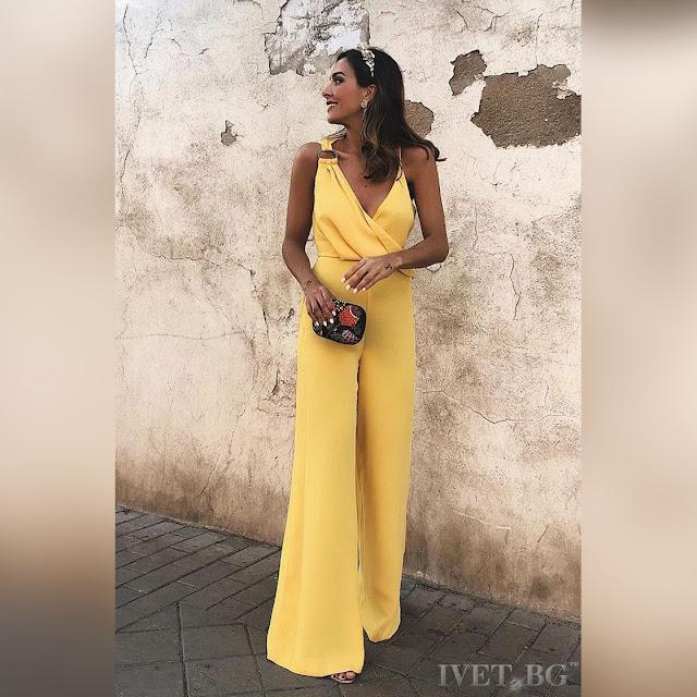 Μοντέρνα κίτρινη ολόσωμη φόρμα FRANCISKA