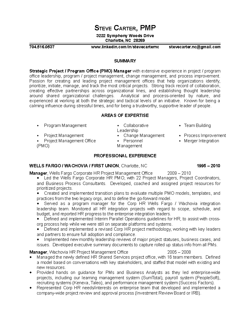 sample of management resumes