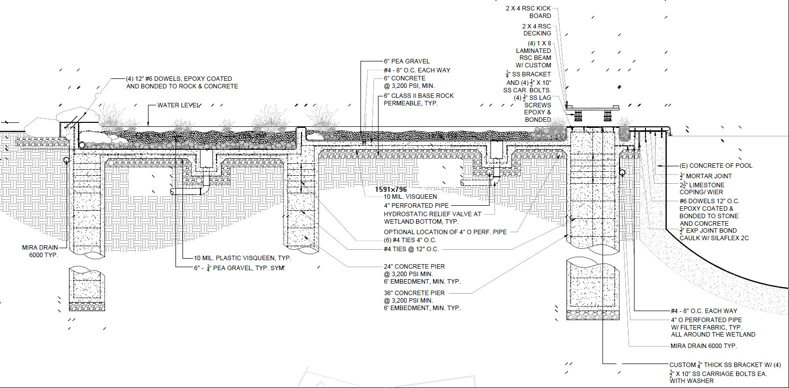 Natural pool conversion plans from rana creek for Pool design drawings