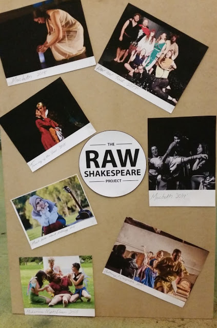 A photo board belonging to the Raw Shakespeare Project depicting their previous performances.Their logo is in a circle in the middle.