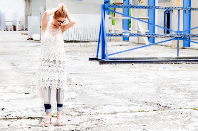 Sommerkleid von H&M aus Tüll, Häkelkleid von H&M