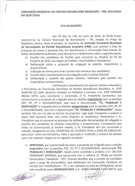 Atas das convenções partidárias do dia 29 de julho em Borrazópolis