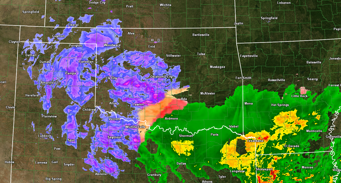 HD Decor Images » The Original Weather Blog  Christmas Is Becoming White In Oklahoma     As you can see on the composite radar image above  snow is falling across  much of the western half of Oklahoma and into adjacent portions of the  Texas
