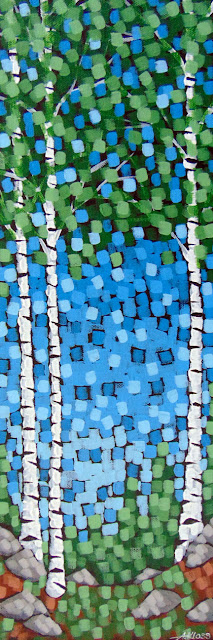 Spring Arrival painting by artist painter aaron kloss duluth mn, pointillism, painting of spring, painting of birch trees in spring, minnesota landscape painting