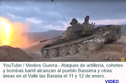 Bombas del ejército sirio en el Valle Barada.