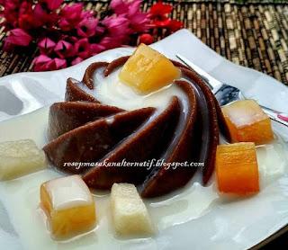 Resep Puding Coklat Susu Saus Buah