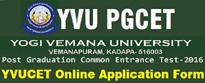 YVU PGCET Notification Online Application 2016
