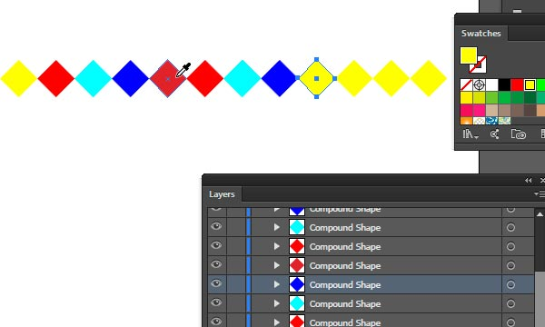 colorize shapes in the first row illustrator