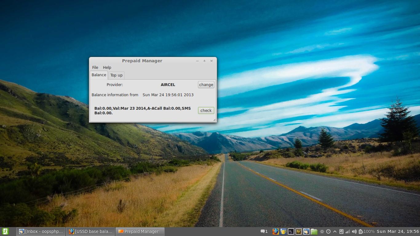 USSD base balance check on Linux using datacard