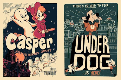 Casper the Friendly Ghost & Underdog Vintage Variant Screen Prints by Ian Glaubinger x Mad Duck Posters
