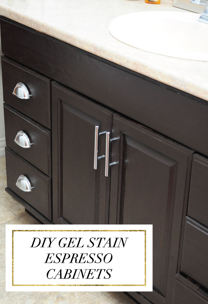 Staining oak cabinets an espresso color diy tutorial for Can you use kitchen cabinets in bathrooms