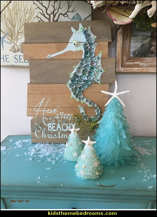 sea glass small Christmas tree.   Coastal Christmas decorating theme - coastal Christmas decor - beach christmas  - Beach Christmas Decorations  - seaside decor - coastal ornaments - beach themed Christmas decorations - beach themed christmas tree -  sea themed ornaments -  nautical accents - beach themed ornaments - coastal Christmas tree skirts - beach & seaside decorations - nautical Christmas decor - Nautical Holiday decor - coastal christmas ornaments