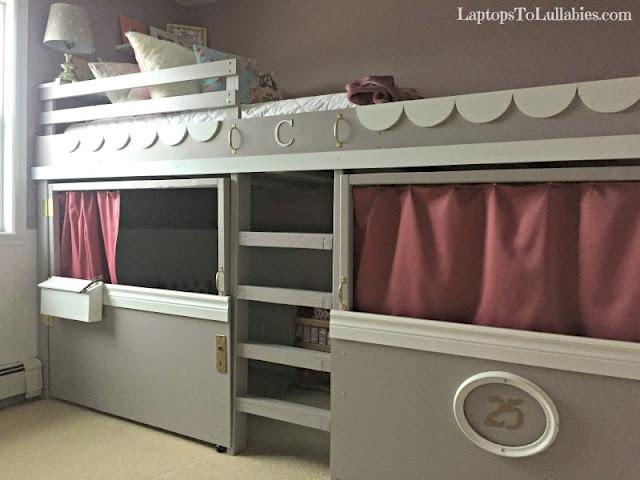 DIY loft bed  playhouse and reading nook. Laptops to Lullabies  DIY loft bed  playhouse and reading nook