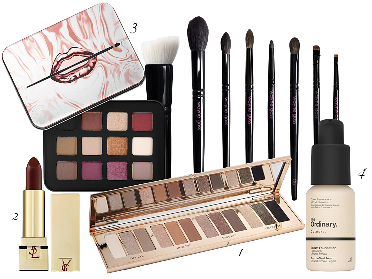 maquilhagem outono, Charlotte tilbury instant eye palette, Make up for ever lustrous palette, Wayne goss brushes