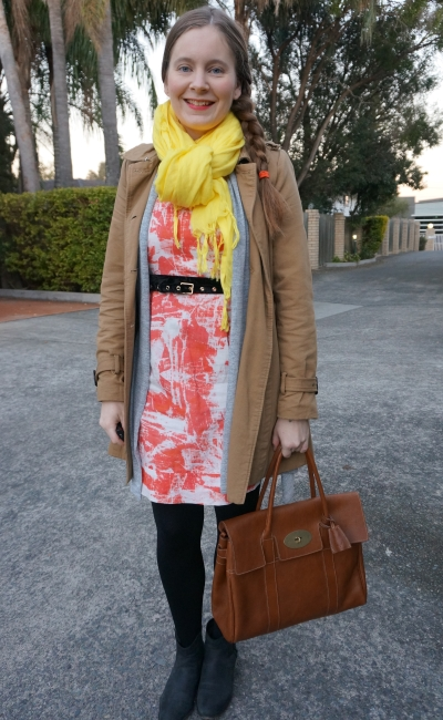 colourful winter printed sheath dress, trench coat, scarf and mulberry bayswater outfit | away from blue