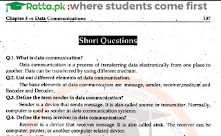 11th Class Computer Chapter 3 Short Questions pdf - ICS 1st Year