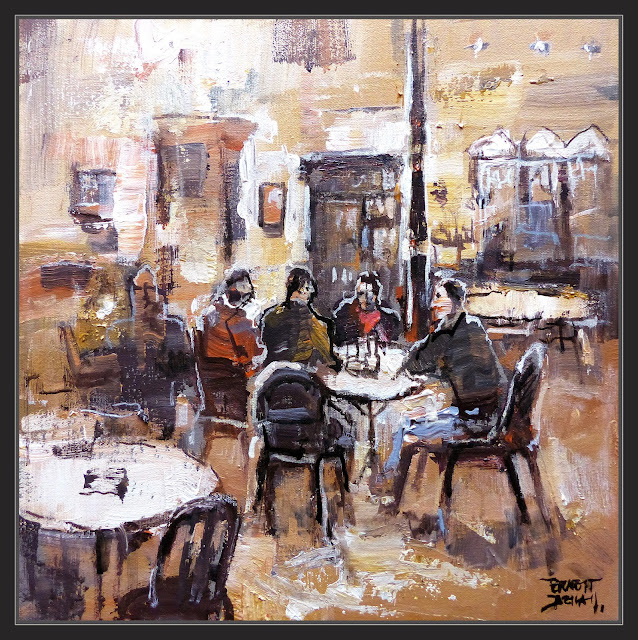 PRAGA-PINTURA-CAFE MILENA-CAFETERIA-INTERIORES-CAFETERIAS-RECUERDOS-FRANZ KAFKA-CUADROS-CHEQUIA-ARTISTA-PINTOR-ERNEST DESCALS