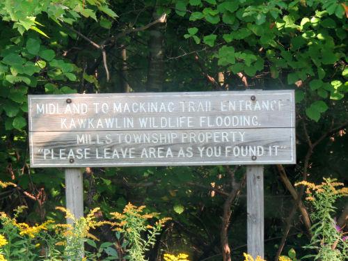 Midland to Mackinac Trail sign