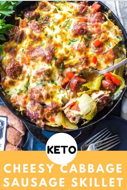 Keto Cheesy Cabbage Sausage Skillet