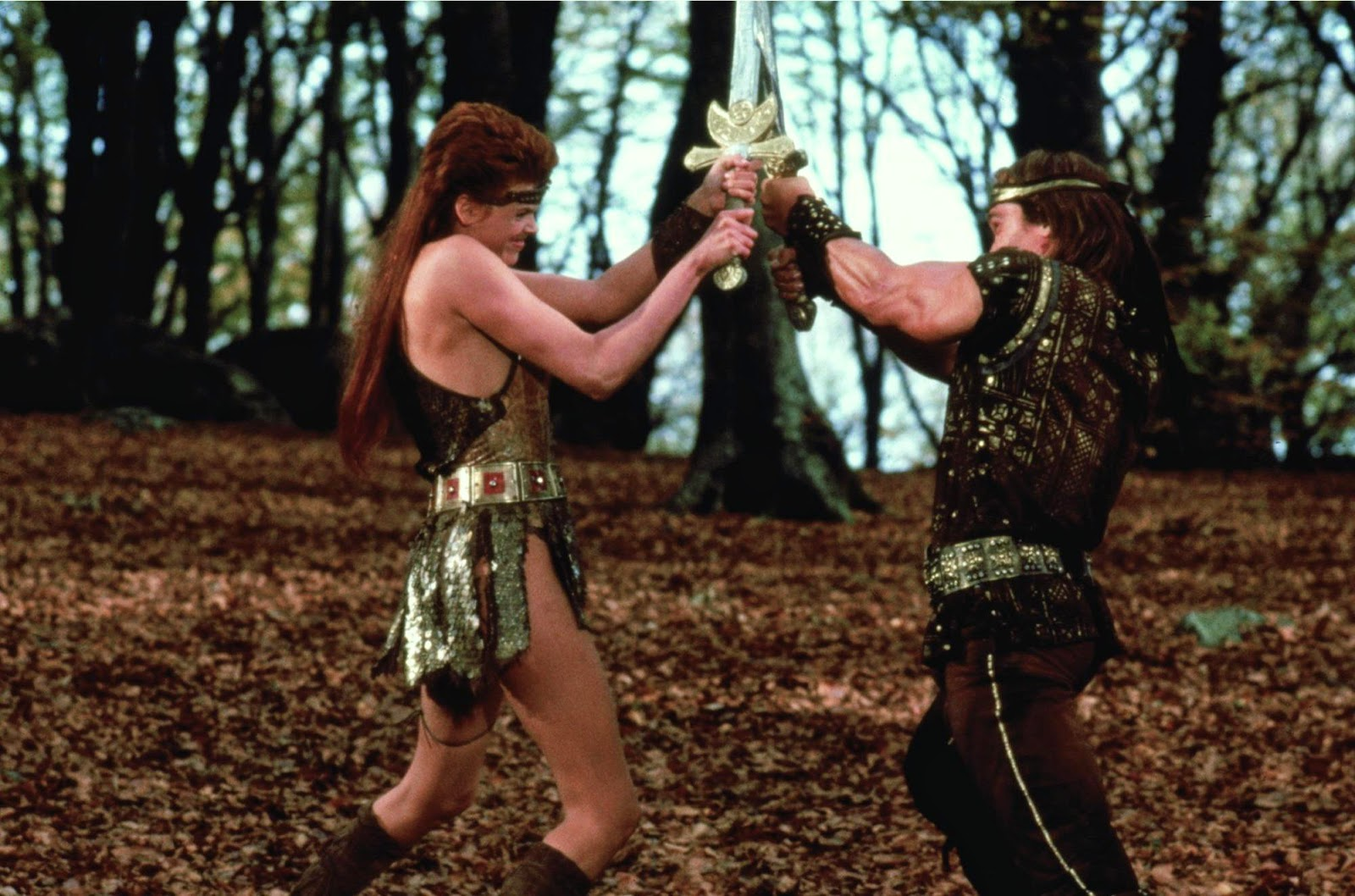 sandahl bergman, brigitte arnold sword fight red sonja