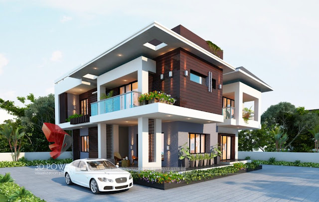 3D Bungalow Design Rendering