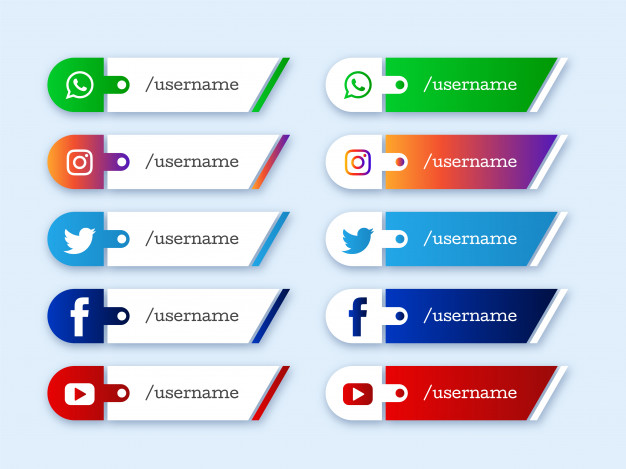 Social media lower third icons design Free Vector
